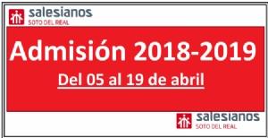 Proceso de admisión de alumnos para el curso 2018-2019